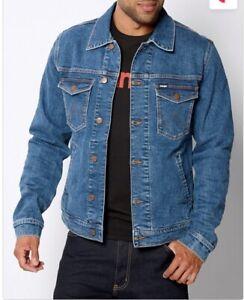 Ex Wrangler Mens Collar Denim Jacket Stretch Regular Authentic Trucker Seconds