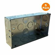 5 x double metal back box 35mm flush mur pattress/2 gang electrical sockets