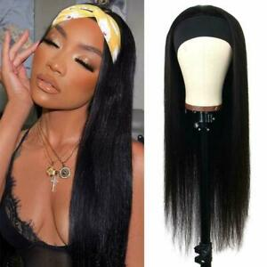 Straight Headband Hair Wig Glueless Black Synthetic Wig Safe Natural Dress
