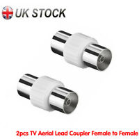 2x TV Aerial Lead Coupler Female to Female Socket Coax Connector Coaxial Adapter