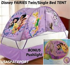 Kids Disney FAIRIES Tinkerbell BED TENT +Push Night Light Set TWIN/Single Pixies