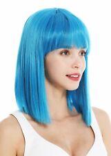 Peluca de Mujer hasta los Hombros Longbob Liso Cleopatra Flequillo Azul Claro