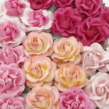 25 Mulberry Paper Flowers Wedding Rose Headpiece Scrapbook Craft Supply R77-00