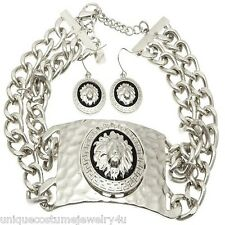 Chunky, Bold & Sexy Silver Plated Hammered Lion Head ID Statement Necklace Set