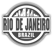 "Rio De Janeiro Brazil Rubber Stamp Car Bumper Sticker Decal 5"" x 4"""