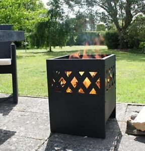 Outdoor Fire Pit Log Burner Garden Patio Heater Steel Black Brand NEW UK STOCK