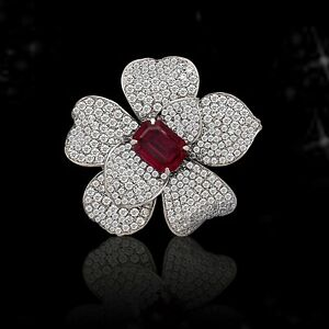 925 Sterling Silver Red Emerald-cut Studded Flower Design Sparkly Diamond Brooch