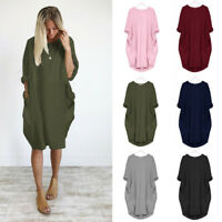 New Ladies Comfy Causal Cocoon Tunic Dress Womens Crew Collar Jumper Dress Size