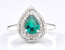 14KT White Gold 1.45 Carat Natural Green Emerald EGL Certified Diamond Ring