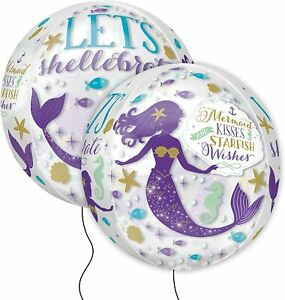 """Mermaid, Kisses, Starfish Wishes 15in x 16 in"""" ORBZ See-Thru Clear Balloon"""