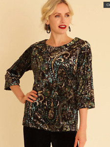 POmodoro size 12 teal paisley print tunic TOP day to evening occasion party £60