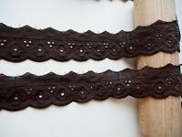 2 Meter Spitzenborte Madeira Spitzenband Borte Lochstickerei Dunkelbraun 40mm