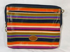 Fossil Striped Coated Canvas Tablet Zipper Sleeve Bag - 8 x 10 inches