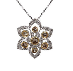 18k White Gold 1.25TCW Natural Champagne Diamond Flower Pendant & Chain Necklace