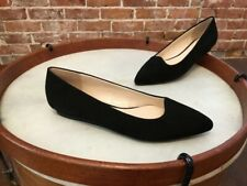 Isaac Mizrahi Black Suede Pointed Toe Rosy Ballet Flats NEW