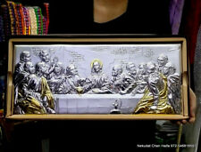 "XL Silver coated ""Last supper"" wall decor plaque Jerusalem  gift 50cm 19.7 inch"