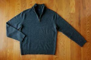 J. Crew Charcoal Gray 100% Lambswool Quarter Zip Sweater L