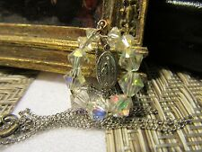 Vtg. Crystal AB beaded pendant w/Blessed Mini Miraculous Mary Dangle w/Chain
