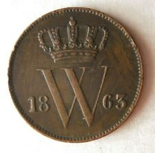 1863 NETHERLANDS CENT - Excellent Early Date Coin - Lot #M25