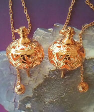 2 LARGE UNUSUAL FILIGREE DESIGN COPPER DOWSING PENDULUM WITH 2 VELVET POUCHES