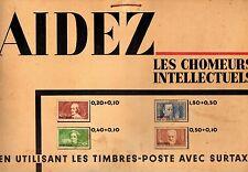 France Yvert n° 330/333 surch Specimen sur carton d'affichage des PTT