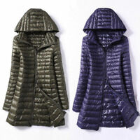 Packable Women's 90% White Duck Down Coat Ultralight Jacket Hooded Long Overcoat