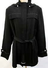 Utex Design Women's All Weather Belted Jacket Sz 8 Black Top Stitch Design Hood