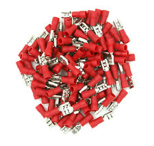 "100 Pack 22-18 Gauge Red Female Quick Disconnect Terminals .187"" - SHIPS FREE"