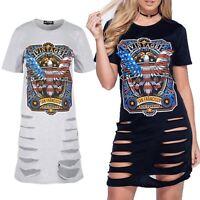 Womens Ladies Rock America Vintage Front Rip Lazer Cut Baggy Long T Shirt Dress