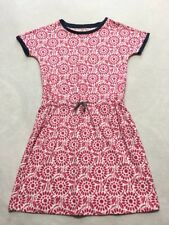 Lands End Kids Girls S 7 8 Pink White Navy Tie Waist Floral Swirl Cotton Dress