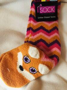 Fox Fleece Chevron Gripper Socks Critter Nwt Feet