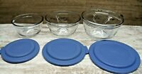 3 Vintage Clear Glass ANCHOR HOCKING Nesting Mixing Bowls 2.5, 1.5, 1 Qt  W/Lid