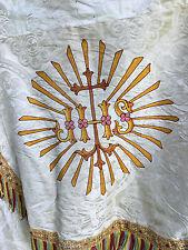 Chape Chasuble Liturgique Broderie Prêtre Aube Ancien 23