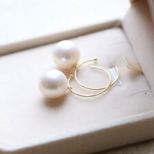 huge pair of 13mm south sea white round pearl earring 14k