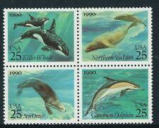 USA 1990 Marine Mammals whale, dolphin, Sea Lion, Otter block of 4 SG 2542/5 MUH