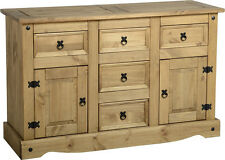 Corona Solid Pine 2 Door 5 Drawer Sideboard in Distressed Wax Pine