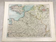 1899 Antique Map of France Northern North Paris Original 19th Century GERMAN
