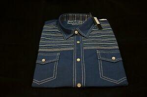 NWT - James Campbell Men's Pearl Snap Western Shirt Long Sleeve Size Medium Blue