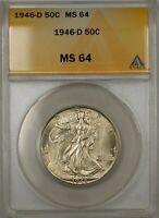 1946-D Walking Liberty Silver Half Dollar 50c Coin ANACS MS 64