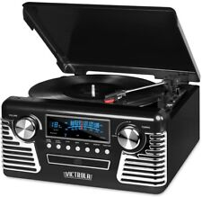 Retro Style Turntable Bluetooth Back Lit AM FM Radio Built-in CD Player Black