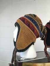 Cool gold /green reversible adult peruvian alpaca chullo hat