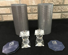 1989 Swarovski Crystal Candleholder 109 Pin Retired 3.25� Set 2 Box Coa
