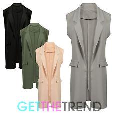 Womens Loose Waistcoat Ladies Crepe Duster Sleeveless Waistcoat Oversized Gilet