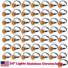 "50X 12V Amber 3/4"" Round Side 3 LED Marker Bullet Chrome Stainless Lamps US Ship"