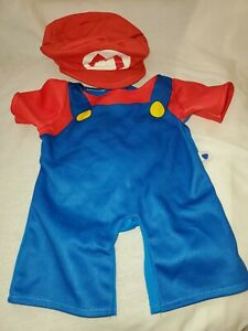 Build a Bear Super Mario Outfit Costume Hat Overalls BAB