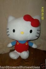 "Hello Kitty 12"" Medium Plush Red Bow Blue Shirt Sanrio Fiesta"