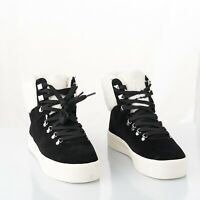 New Marc Fisher Womens Daire Black Faux-Fur Suede Sneaker Round Toe Boots Size 8