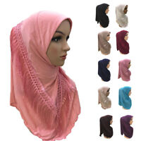 Muslim Women Tassel Hijab Amira Islamic Ladies Headscarf Head Wrap Turban Shawl