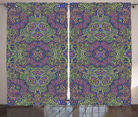 Psychedelic Curtains Modern Boho Hippie Window Drapes 2 Panel Set 108x84 Inches