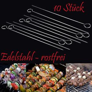10x Spieße Schaschlikspieße Fleisch Gemüse Grillspieß Fleischspieß Edelstahl
